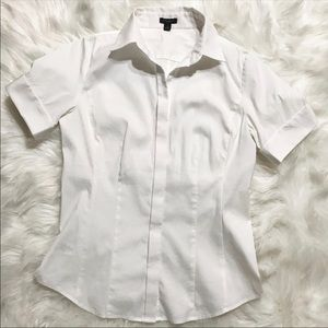 Ann Taylor White Career Button Down Shirt Size 4